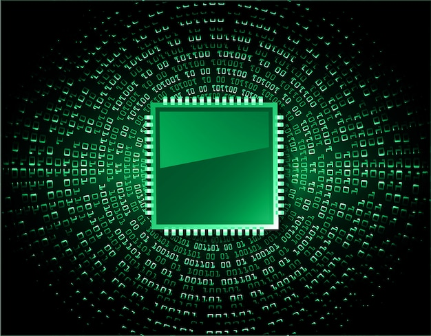 Green cpu cyber circuit future technology concept background