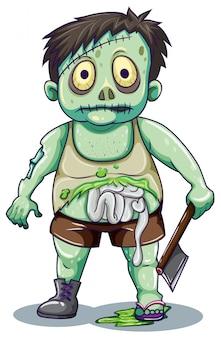 Green creepy zombie man