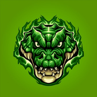 Green crocodile head