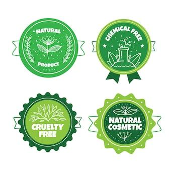 Pacchetto badge verde cruelty free Vettore gratuito