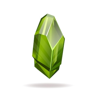 Green crystal vector flat style illustration volumetric realistic crystal isolated on a white