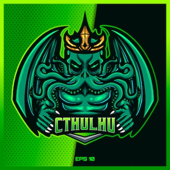 Green cthulhu grab text esport and sport mascot logo design in modern illustration concept for team badge, emblem and thirst printing. mad cthulhu illustration on green background. illustration