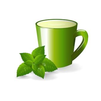 녹차와 녹색 컵입니다. 민트 잎. 단색화.