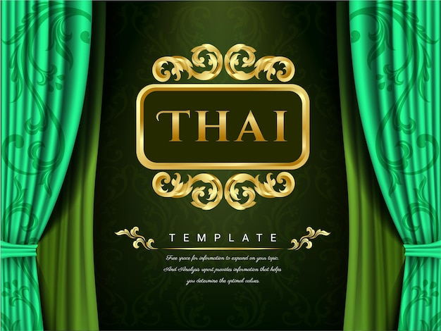 Green curtains and thai template.