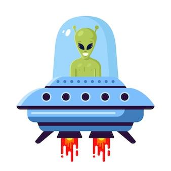 Green cute alien in a ufo