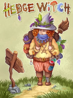 Green cute backpacker witch concept children image