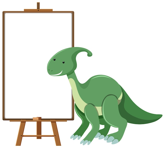 Green cute dinosaur with blank banner isolated on white