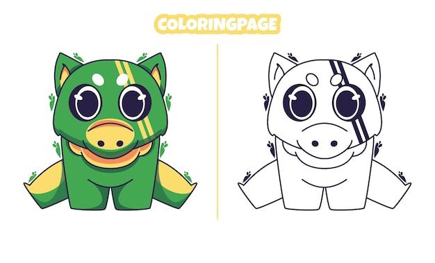 색칠 공부 페이지와 녹색 귀여운 공룡