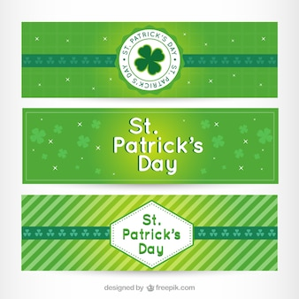 Green cute st. patrick's day banners
