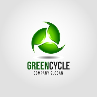 Green cycle logo template