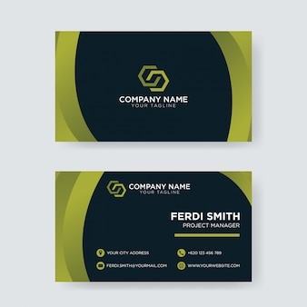 Green dark business card