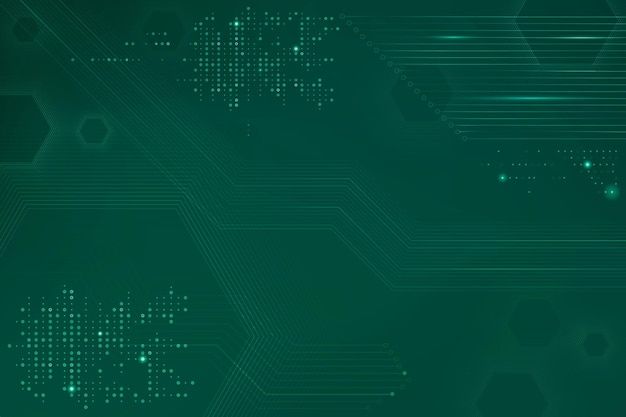 Green data technology background with circuit board