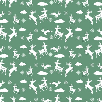 Green deer christmas pattern hand drawn icon set background