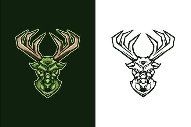 Дизайн логотипа талисмана головы зеленого оленя