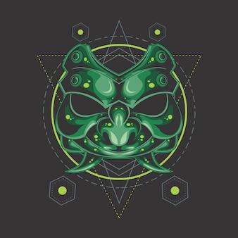 Green demon mask sacred geometry