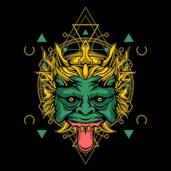 Green demon mask with sacred geometry