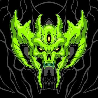 Green demon skull