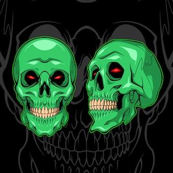 Зеленый демон череп