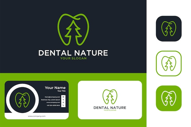 Green dental nature line art logo design and business card