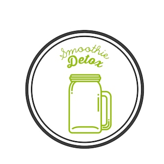 Green detox icon. smoothie and juice design. vector graphic