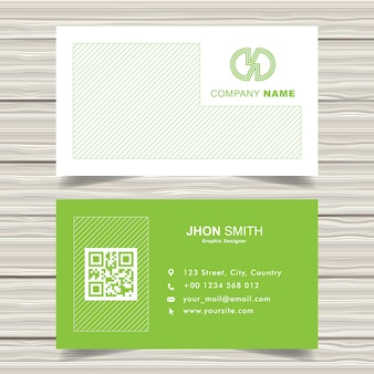 Green diagonal line business card template