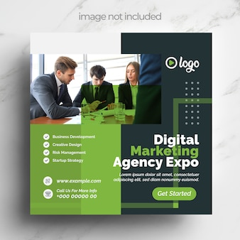 귀하의 비즈니스 마케팅을위한 녹색 디지털 마케팅 소셜 미디어 템플릿 디자인
