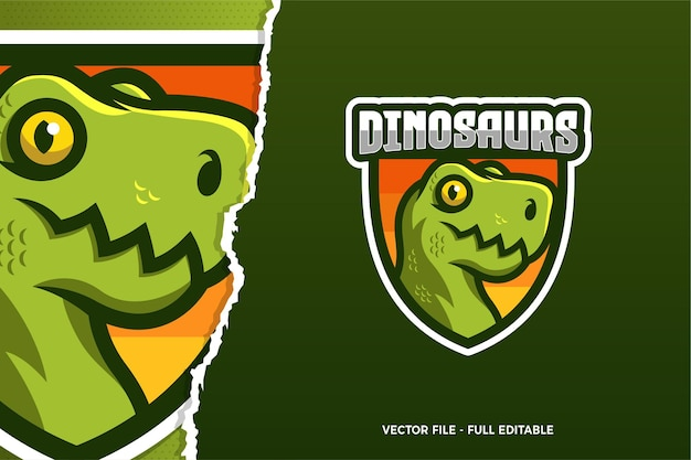 Шаблон логотипа киберспорт зеленый динозавр