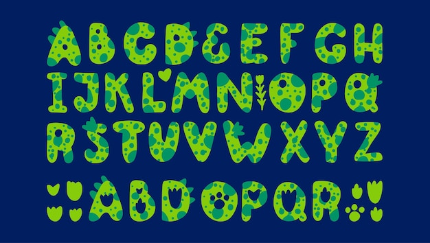 Green dinosaurs alphabet font for dino prints of childrens in the style of monsters dragons