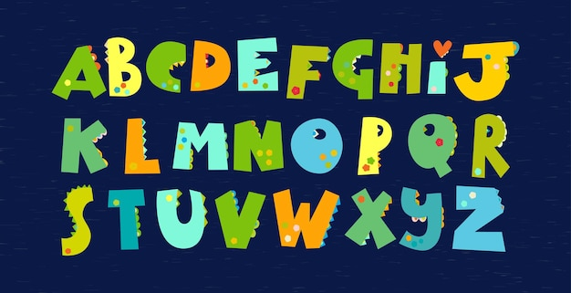 緑の恐竜のアルファベット。子供のテキスタイルのディノプリントのフォント、壁紙、ディノスクラップブッキング用の紙、パッケージ、招待状