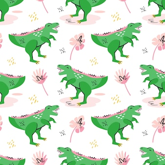 Green dinosaurs cute flat hand drawn cartoon  seamless pattern wallpaper. prehistoric elements. ancient animals. colorful design. isolated on white background.