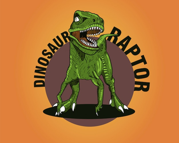 Green dinosaurs raptor on orange background