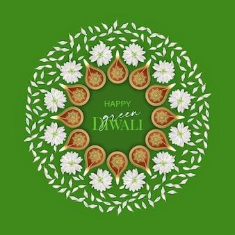 Дизайн концепции зеленого дивали с горящими лампами дия и цветами