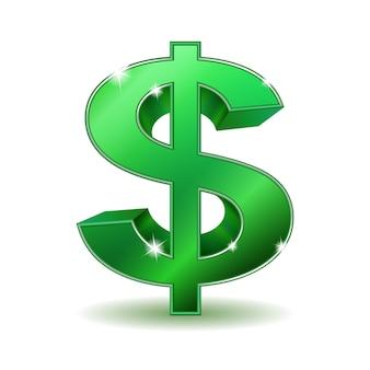 Зеленый знак доллара на белом фоне.