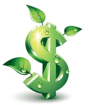 Зеленый знак доллара с зелеными листьями