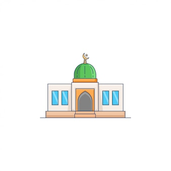 Green dome mosque icon vector illustration