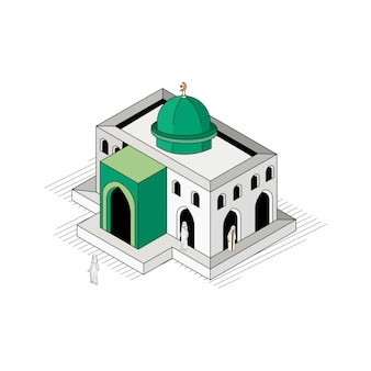 Green dome mosque isometric flat outline illustration