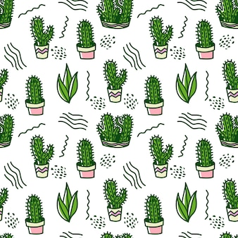 Green doodle cactus seamless vector pattern background