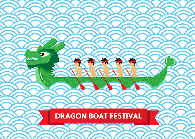 Green dragon boat on blue abstract background
