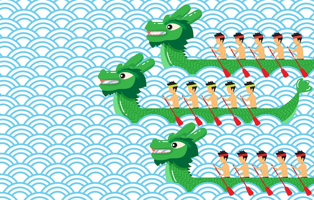 Green dragon boat on blue abstract wave pattern