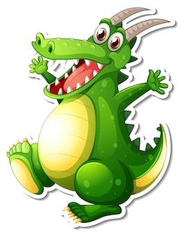 Adesivo personaggio dei cartoni animati drago verde