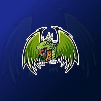 Eスポーツゲーミングロゴのグリーンドラゴンマスコット