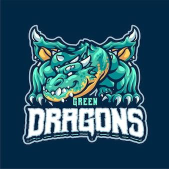 緑のドラゴンのマスコットのロゴのテンプレート