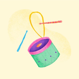 緑のドラムステッカー楽器イラスト