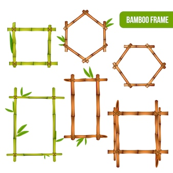 Green and dry bamboo decorative interior elements square rectangle and hexagon frames