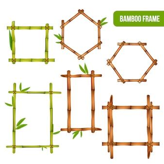 Cornici rettangolari ed esagonali quadrate di elementi decorativi in bambù verde e secco
