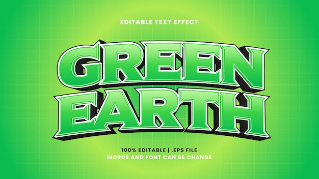 Green earth editable text effect in modern 3d style