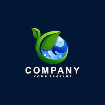 緑の地球のグラデーションのロゴデザイン
