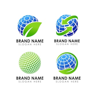 Green earth logo design template