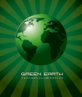 Green earth realistic ecology background vector illustration