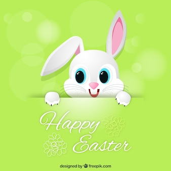 Green easter card with cute bunny